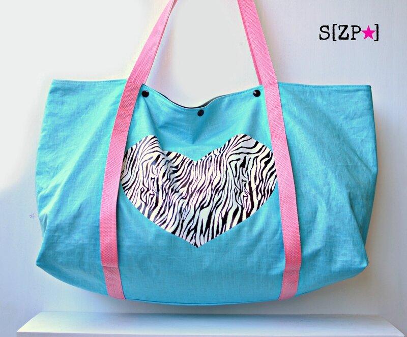 sac de plage original 2015 turquoise et rose, lin enduit, sac de marché imperméable