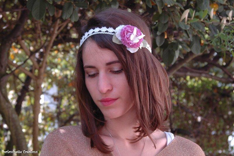 headband mariage fleur rose parme papillon