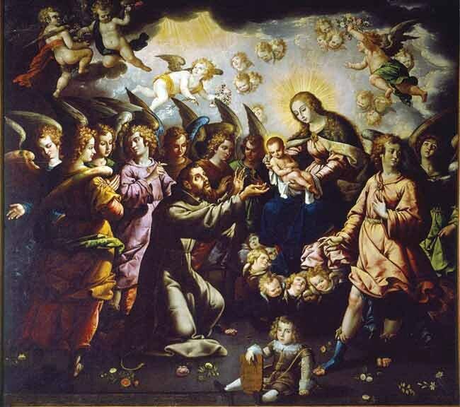 La aparicion de la virgen y el niño à San Francisco de José Juàrez