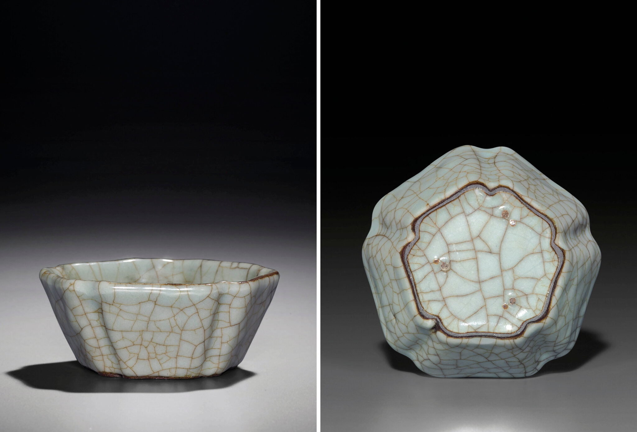A very rare Ge cinquefoil brush washer, Yuan-Ming dynasty, 13th-15th century