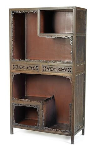 A rare zitan and lacquer cabinet, Mid Qing Dynasty