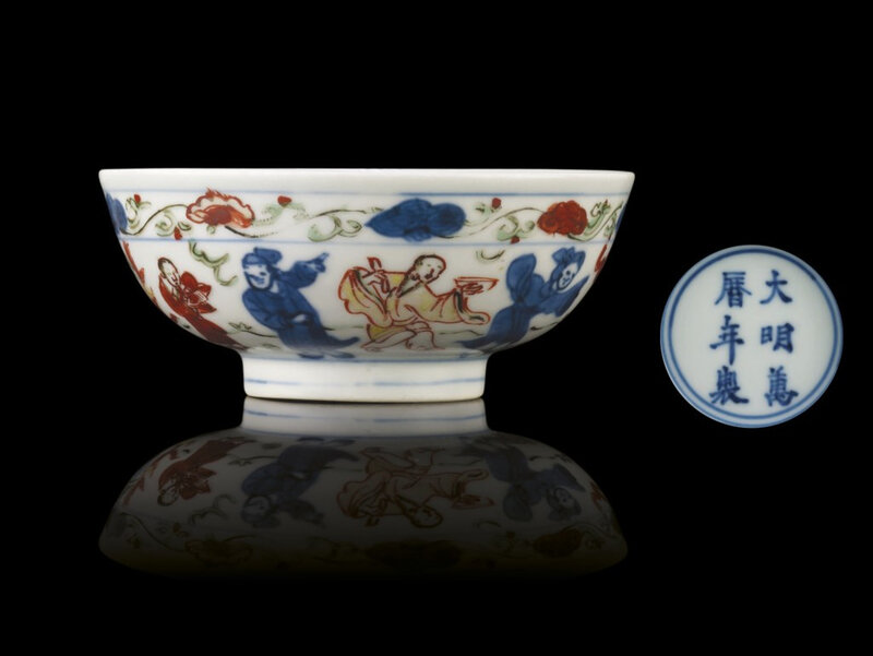 A late Ming smallwucaibowl, Wanli six-character mark within double-circles and of the period (1573-1619)