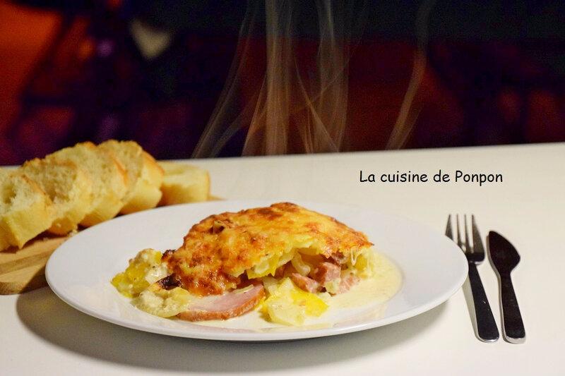 gratin de potiron, p de t, bacon et lardons (11)
