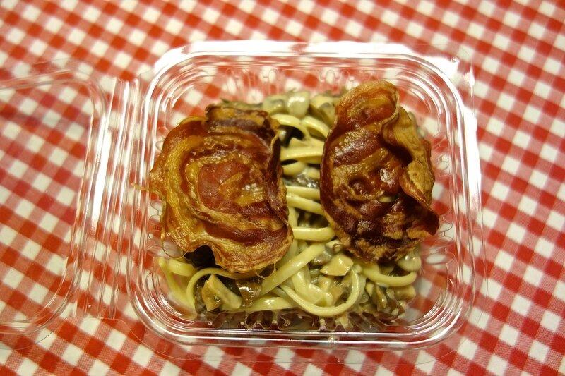 linguine aux châtaignes, champignons de Paris et pancetta